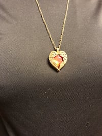 Gold colored wings heart with red gemstone center with necklace Knik, 99654