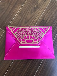 BCBG satin clutch