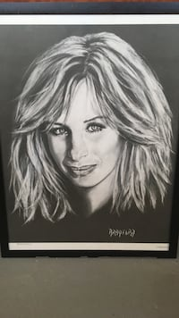 Barbra Streisand sketch portrait! Large poster-size. Framed..