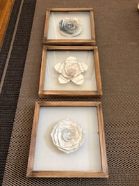 Set of three origami flower framed pictures art San Francisco, 94116