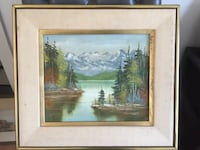 1977 framed original oil painting Lake and Mountain View 科奎特兰