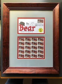 Framed Bear Bryant Stamp Collection and Envelope
