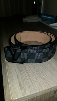 black and gray checker Louis Vuitton leather belt