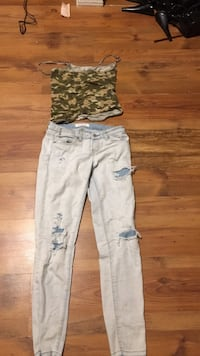 Entire outfit of a camp crop T and ripped jeans  Calgary, T3J 4N2