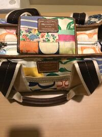 COACH AUTHENTIC MULTICOLORED PATCHWORK HANDBAG WITH MATCHING ID WALLET