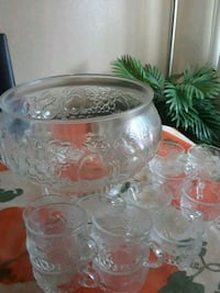 clear glass bowl with 12 cups Anaheim