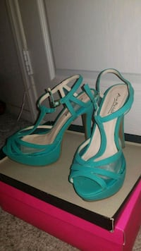 pair of teal open-toe ankle strap wedges Las Vegas, 89110