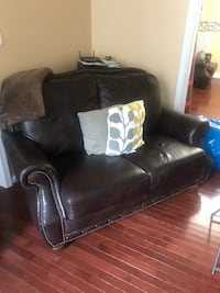 Brown leather Sofa, loveseat, lounge chair, ottoman with nail heads Alexandria, 22314