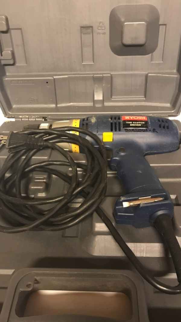 blue Ryobi corded power drill in case