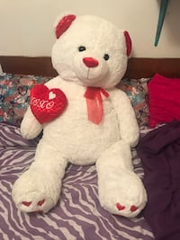 white and red bear plush toy Lenoir, 28645