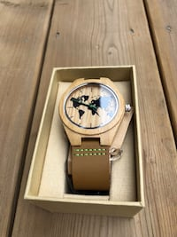 Natural wood watch with brown leather strap Oakville, L6L 0P3