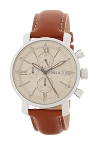 round silver Michael Kors chronograph watch with brown leather strap
