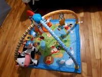 baby's blue and brown activity gym