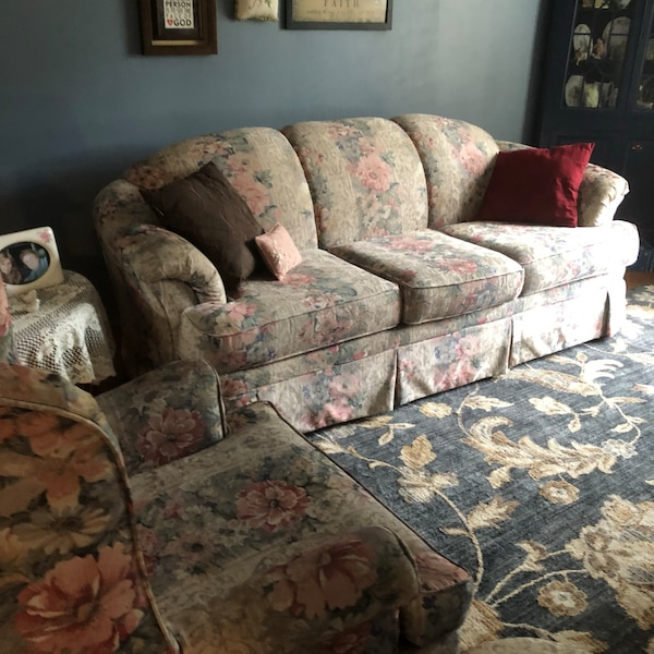 Used Floral Sofa And Matching Chair In Good Condition For