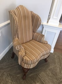 brown and white striped padded armchair ASHBURN