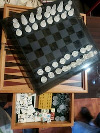 Wood and glass chess set