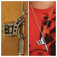 Silver Tattoo gun pendent. 24in silver Franco chain. Both made of stainless steel. Glen Burnie