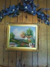 brown wooden framed painting of blue and white flowers Semmes, 36575