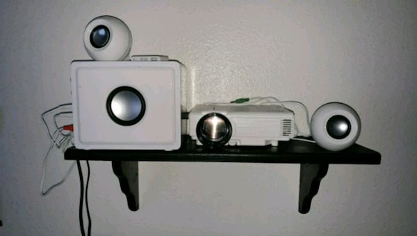 Projector, screen and speaker combo (like new)