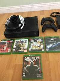 Black xbox one console with controller and game cases Carson, 90745