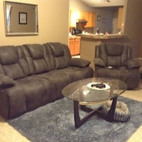 Grey blue microfiber electric couches