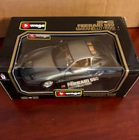 Metallic Grey Ferrari 550 Maranello Burago 1:18 Scale New in box 778 mi