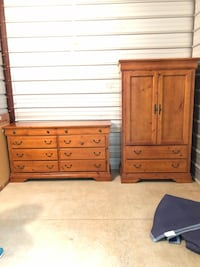 Solid Wood Pine Armoire, Dresser, TV Entertainment Cabinet