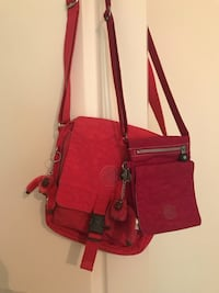 red and brown leather crossbody bag Rosemère, J7A
