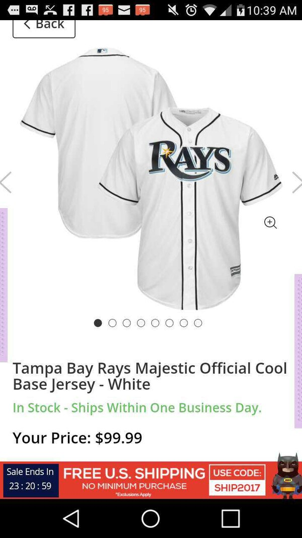 info for 784ab 83851 Men's size large Tampa Bay Rays jersey