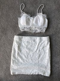 White Lace crop top and skirt