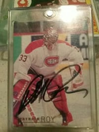 Patrick Roy NFL trading card with clear case