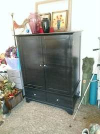Beautiful refinished wood TV / clothes armoire (shelving unit)