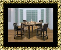 Marble tall table with 4 chairs leather free deliv McLean