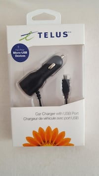 TELUS CAR PHONE CHARGER WITH USB PORT NEW