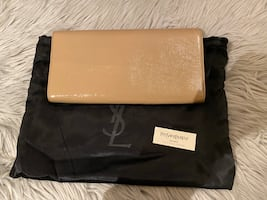 YSL beige patent leather clutch