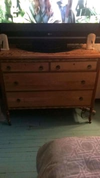 Beautiful classic wooden dresser refinishe by hand