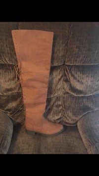 Pair of brown suede thigh-high boots Columbus, 31906