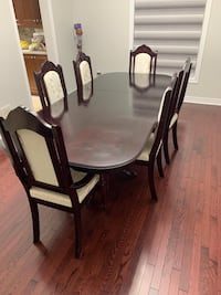 Solid Wood Dining Table, Chairs and Cabinet Set