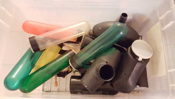Paintball hoppers, refill canisters and CO2 tanks