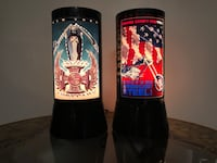 Two black and red floral print ceramic vases Clinton Township, 48035
