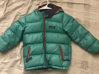 green and black zip-up bubble jacket 384 mi