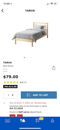Wood ikea twin size bed Leesburg, 20176