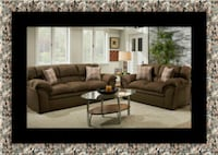 Chocolate fabric sofa and loveseat McLean