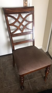 ( 6 Available ) Brown wooden framed gray padded chair  Chicago, 60656