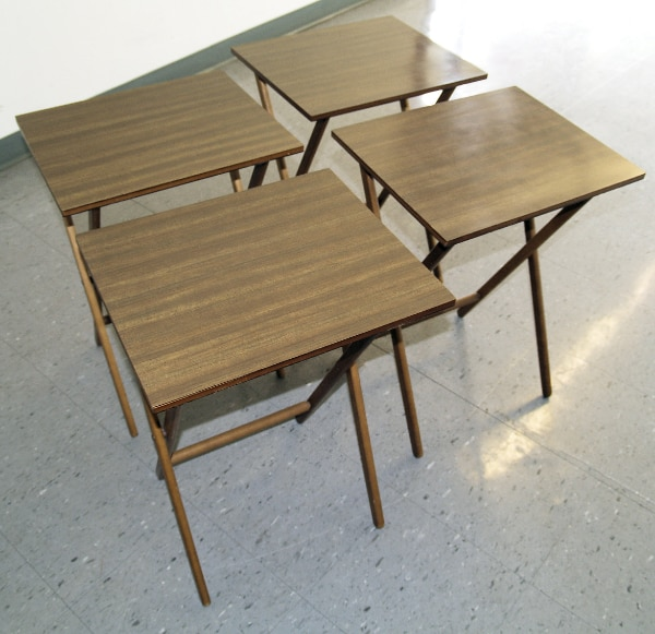 buy online 0ef93 fafc3 FOLDING TRAY-TV-Snack Tables–set of 4 w/ stand, vtg Scheibe MidCentury