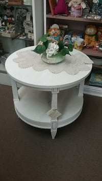 Sale... Painted Mahogany 2 Tier Round End Table Mesa