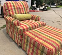 Red and green striped fabric sofa chair and ottoman  Mount Pleasant, 29464
