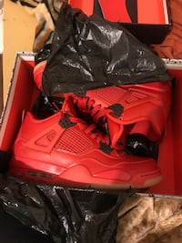 Pair of red air jordan 4's with box Yonkers, 10701