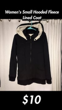 Woman's Small Fleece Lined Black Zip Up Hooded Jacket Grosse Pointe Woods, 48236