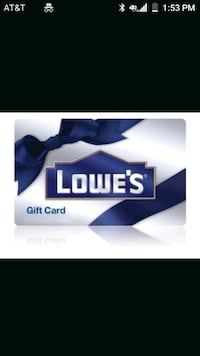 $90 lowes gift card Myrtle Beach, 29588